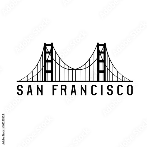 Fotomural golden gate bridge in san francisco vector design illustration