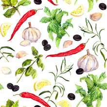 Spices And Herbs, Seamless Cooking Pattern. Watercolor
