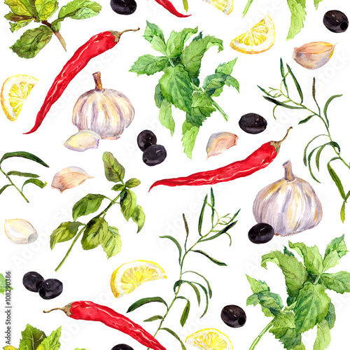 Spices and herbs, Seamless cooking pattern. Watercolor - 108290386