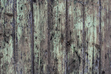 Old Green Paint On Rotten Wood