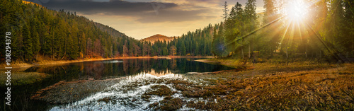 panorama of crystal clear lake near the pine forest in mountains at sunset