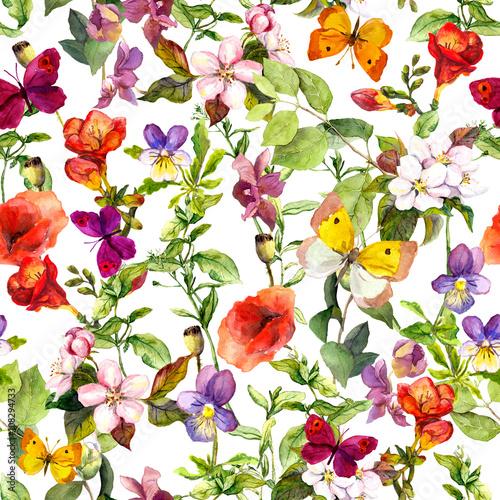 laka-kwiaty-i-motyle-powtarzalny-wzor-akwarela