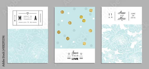 Stickers pour porte Pierre, Sable Collection of trendy romantic invitations with flowers and gold glitter texture