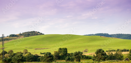Printed kitchen splashbacks Purple Beauty green hills in Pieniny near Cerveny Klastor
