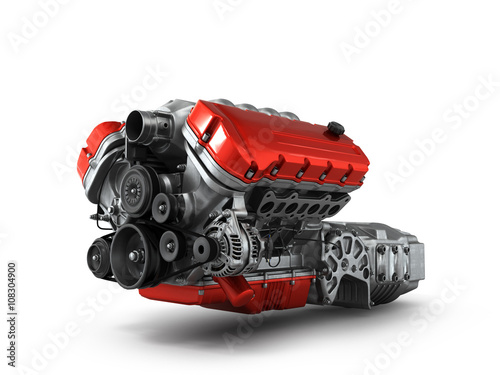 Fotografiet  automotive engine gearbox assembly is isolated on a white backgr