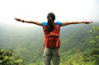 cheering successful woman hiker open arms at mountain peak