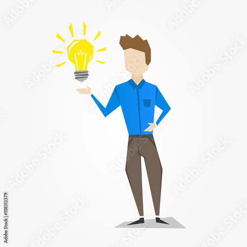 Man With Light Bulb Vector Illustration Person Standing Bright Creative Concept