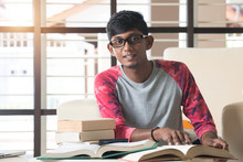 Indian College Student Doing Homework