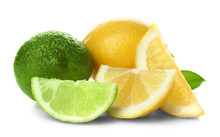 Ripe Lime And Lemon With Slice...