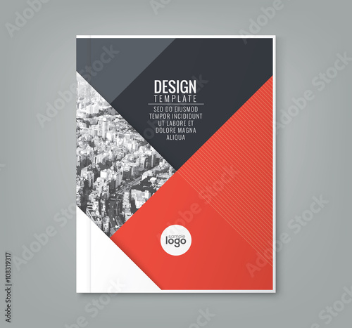 minimal red color design template background for business annual report book cover poster flyer