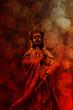 Goddess of Compassion Bronze Statue Red Grunge