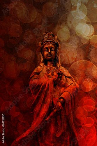 Tuinposter Boeddha Goddess of Compassion Bronze Statue Red Grunge