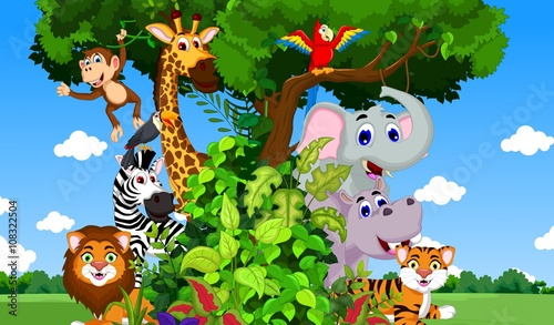 funny animals on the tree with forest landscape background #108322504