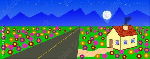 Fototapeta Droga wśród łąki prowadząca przez wieś w stronę gór. obraz