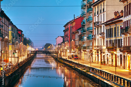 In de dag Milan The Naviglio Grande canal in Milan, Italy