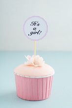 Baby Shower Cupcake For A Girl With Fondant And Sugar Flowers