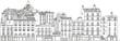 Facades d'immeubles parisiens avec Montmartre-Sacré Coeur