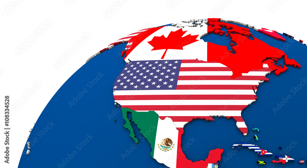 Fototapety, obrazy: Political north America map