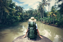 Woman Traveler With Backpack S...