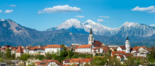 Panorama Of Kranj, Slovenia, Europe. Kranj In Slovenia With St. Cantianus Church In The Foreground And The Kamnik Alps Behind