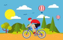 Cyclist On Road, Hill And Sky. Le Tour De France Outdoor Landsсape