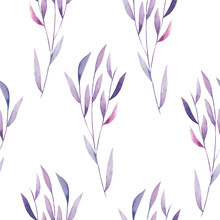 Seamless Floral Pattern With The Watercolor Purple Leaves On The Branches, Hand Drawn On A White Background