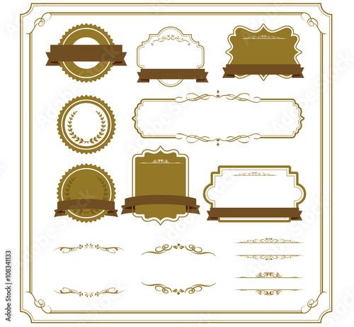In de dag Retro decorative frame set Vector
