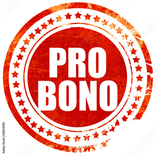 pro bono, grunge red rubber stamp with rough lines and edges Canvas Print