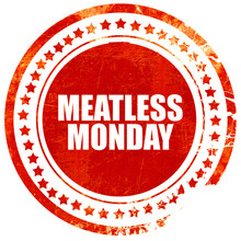Meatless Monday, Grunge Red Rubber Stamp With Rough Lines And Ed