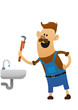 cheerful plumber with a wrench and sink