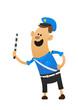 Good cheerful policeman smiling and a baton