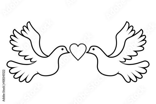 Wedding Dove Love Black Canvas
