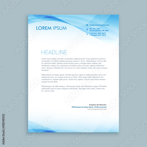 Fototapeta business wave letterhead template obraz