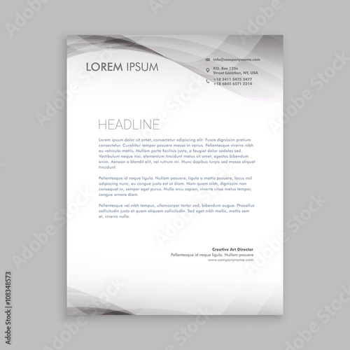 Fototapeta wave style business letterhead design obraz
