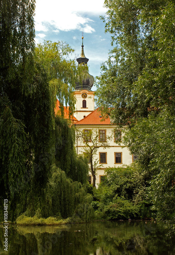 Photo  Lake in the park near the Břevnov Monastery (Břevnovský klášter) is a Benedictin
