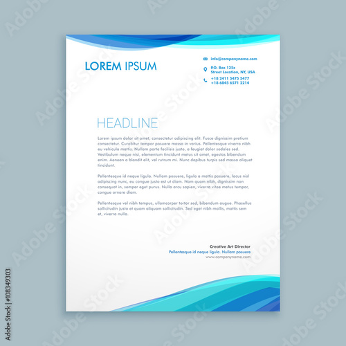 Fototapeta business wave letterhead design obraz