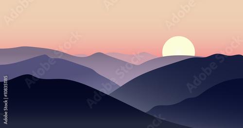Vector mountain sunset landscape