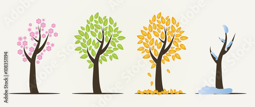 Fotografie, Obraz  Set of four seasons trees