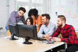 Group of business people working together in office on desktop c
