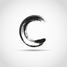 Grunge Circle Frame. Vintage Letter C