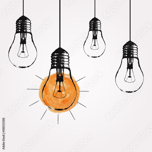 Photo  Vector grunge illustration with hanging light bulbs and place for text