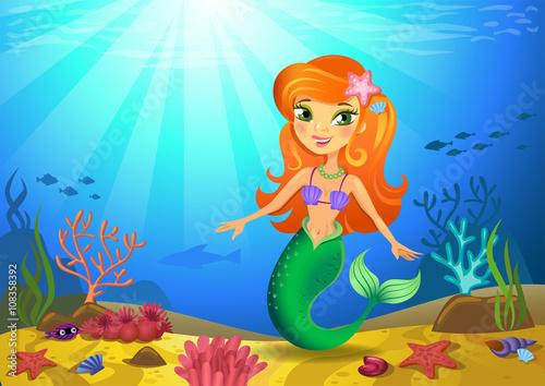Foto op Plexiglas Zeemeermin Seabed with mermaid and corals