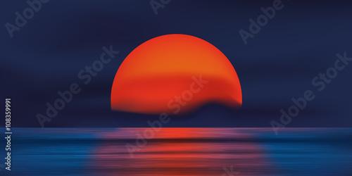 Obraz Coucher de soleil rouge - océan - fototapety do salonu