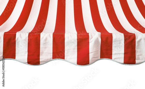 Fotografie, Obraz  Red white striped awning overhang