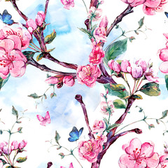 Obraz na Plexi Florystyczny Watercolor seamless pattern with flowers apricot tree branches