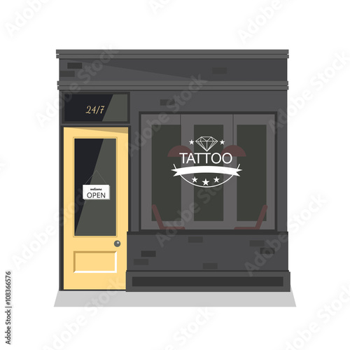 Tattoo parlor facade,shop Canvas Print