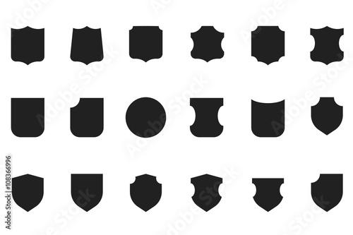 Vintage flat vector heraldic shield shapes labels design