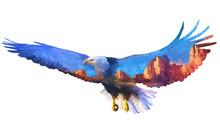 Eagle Double Exposure Illustra...
