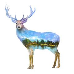 Fototapeta Deer double exposure illustration