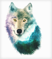 Panel Szklany Zwierzęta wolf double exposure illustration